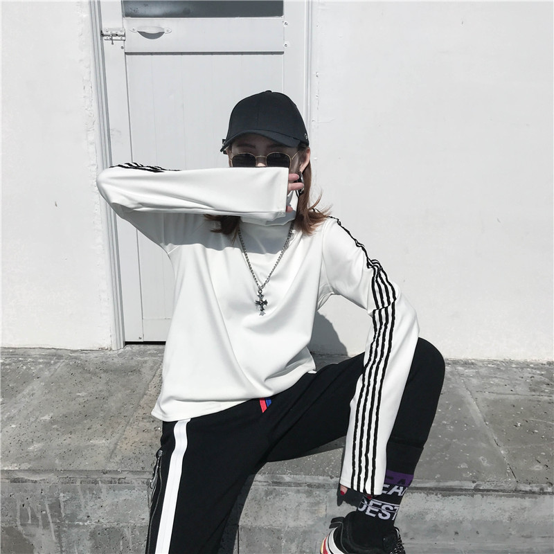 T-shirts Women Long Sleeve Turtleneck Striped Letter Embroidery Harajuku Womens Loose T-shirt Trendy Chic Korean Style All-match 15