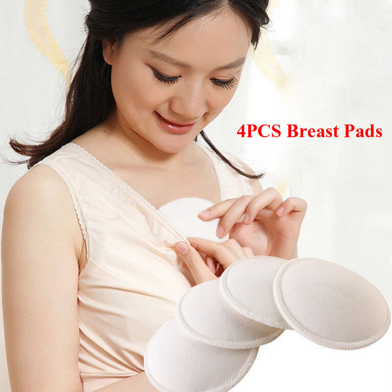 4Pcs Maternity Clothing Accessories Reusable Nursing Breast Pads Washable Soft Absorbent Feeding Breastfeeding