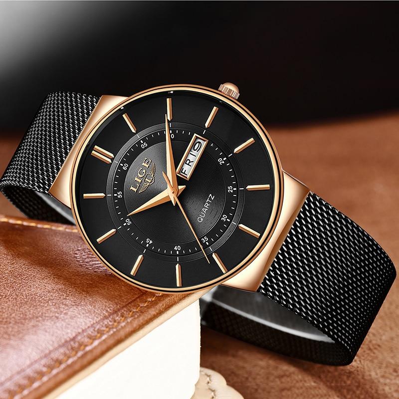 Relojes Hombre ใหม่ LIGE Ultra บางบุรุษนาฬิกาสแตนเลสกันน้ำนาฬิกาผู้ชายแบรนด์หรู Casual กีฬา Quartz นาฬิกา-ใน นาฬิกาควอตซ์ จาก นาฬิกาข้อมือ บน   3