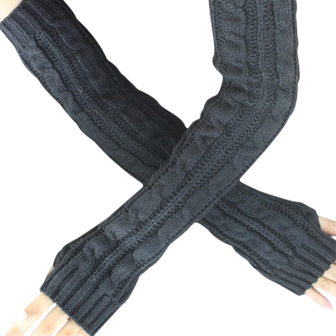 Fashion Winter Women Men Gloves Unisex Arm Warmer Long Fingerless knit Mitten dark gray