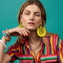 Best lady 2018 Colorful Stylish Large Tassel Drop Earrings For Women Bohemian Big Pendent Earrings Vacation Accessories Jewelry(China)