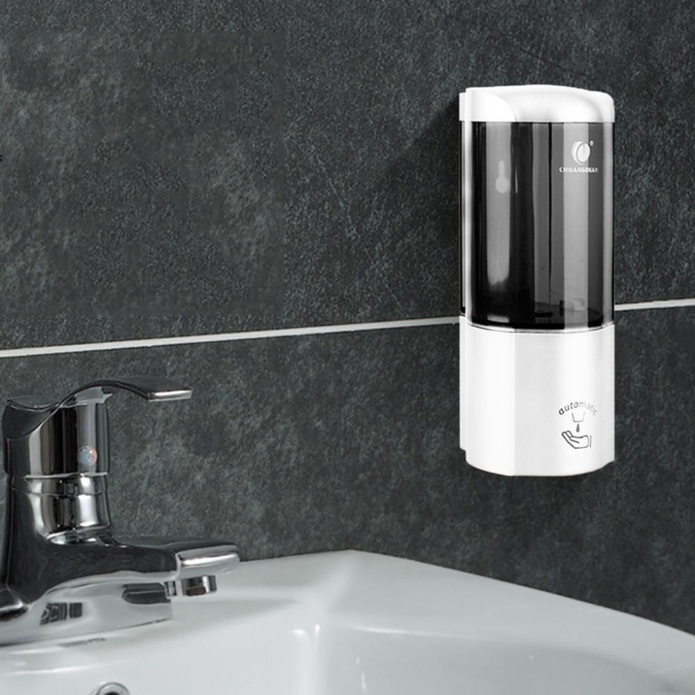 CHUANGDIAN 500ml Auto-Induction Wall Mount Liquid Soap Container Dispenser Hotel Sanitizer Shampoo  Pump Dispenser Free Punching