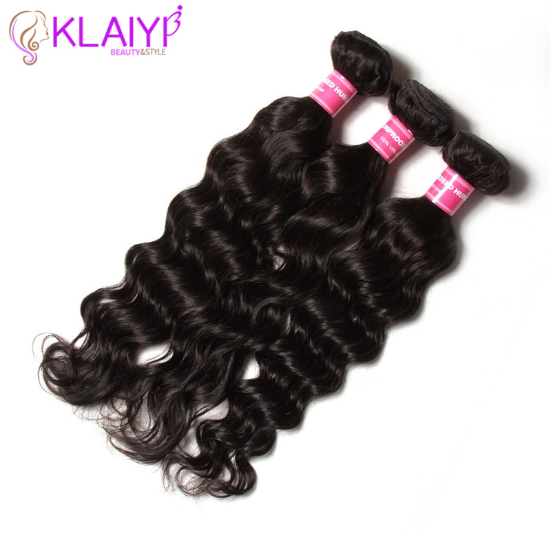 KLAIYI Natural Curl Hair Weave Bundles 1 Piece Remy Human Hair Weaving Natural Color 8-26 Inch Dyeable Free Shipping