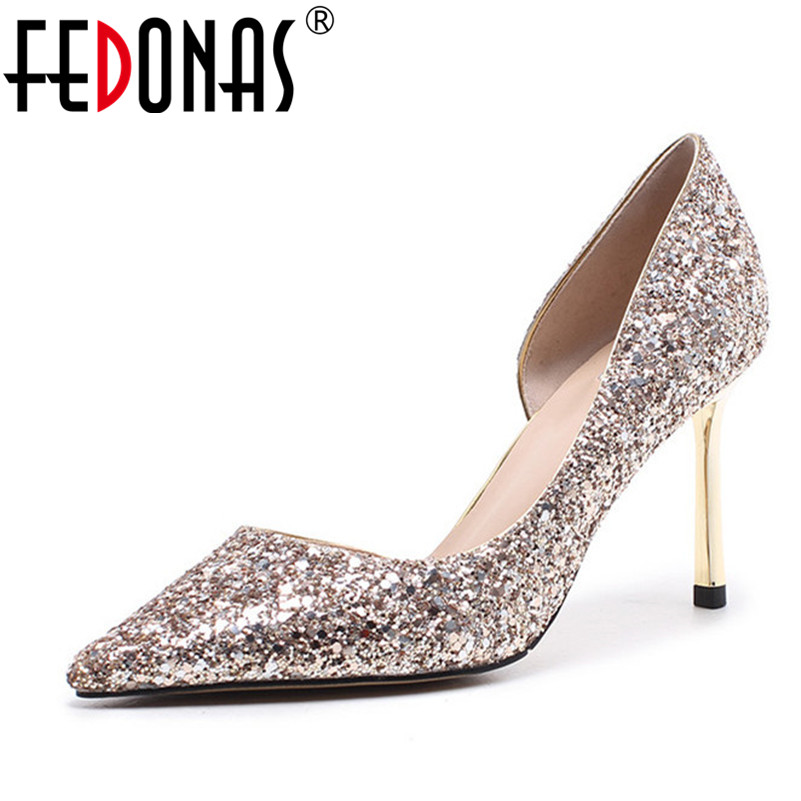 FEDONAS New Fashionable Sexy Design Women Sequined Cloth High Heels Sexy Wedding Party Shoes Woman Fashion Dress Sandals Women