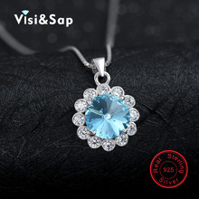 Blue Crystal female clavicle pendant solid 925 Sterling silver jewelry OL Necklaces & Pendants wedding necklace for women VCY262