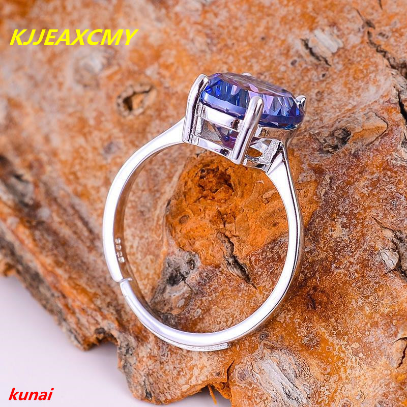 KJJEAXCMY Fine Jewelry 925 Silver Inlay Natural Tanzanite Color Topaz Ladies Ring Jewelry Ab
