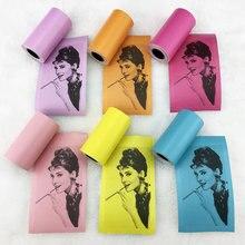 6 рулонов/комплект непрерывной Прочный паста термальность рулон с наклейками для фото принтер печати бумага карман красочные офисные самоклеящиеся