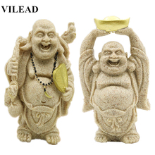 VILEAD Sand Stone Laughing Maitreya Buddha Statues Religious Statuettes Figurines Miniatures Vintage Office Home Decor