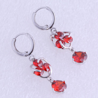Love Monologue Blooming Red Imitation Garnet Silver Color Drop Earrings X0250 Free Gift Bag