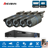 AHCVBIVN P2P 1080P Full HD 4CH POE NVR 24 IR Day Night Outdoor Waterproof FTP Security 4pcs IP Cameras Home CCTV POE System