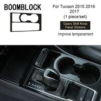 BOOMBLOCK Car Covers For Hyundai Tucson 2015 2016 2017 Interior Gear Shift Knob Panel Carbon Fiber Trim Stickers