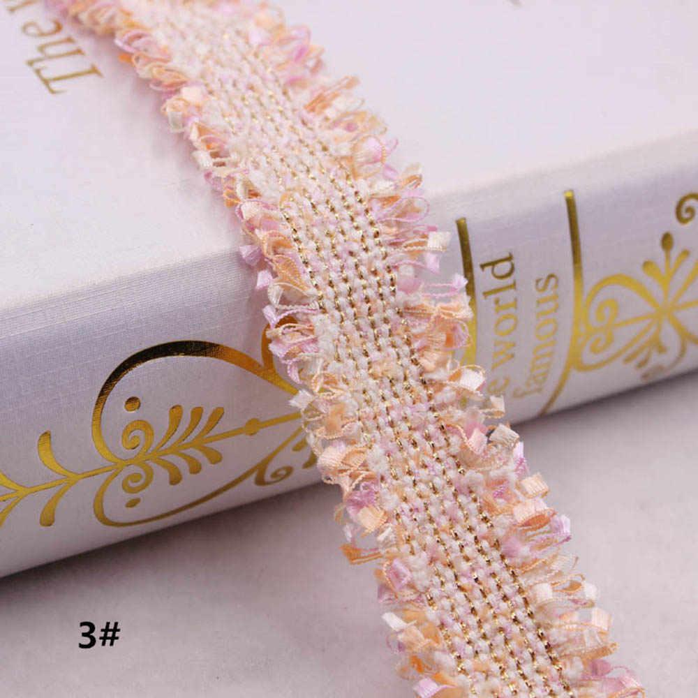 1 yarda Vintage de nailon dorado bordado de encaje de marca nueva cinta de tela hecha a mano DIY vestido de costura suministros artesanías