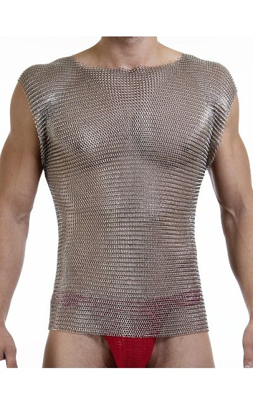 Chain mail stainless steel body armor T shirt shinny stainless steel vest