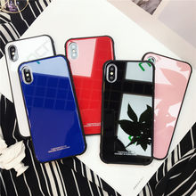 Funda de vidrio templado de colores para APPLE IPHONE 7 8 PLUS X 6 S 6 PLUS cristal templado de moda de lujo FUNDA(China)