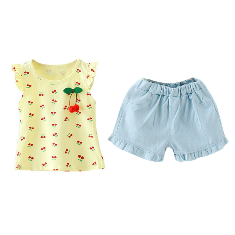 Summer Kids Clothes Girls Clothes Set Cute Print Short Sleeve T-shirt+Toddler Pants Baby Girl Clothing