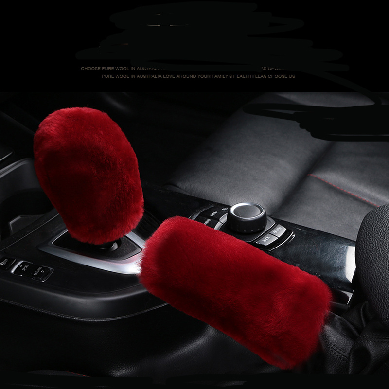 Winter Plush Fur Car Hand Brake Cover Shift Knob Cover For Porsche 911 918/Cayenne/Macan/Macan S/Panamera/Cayman/Carrera/Boxster