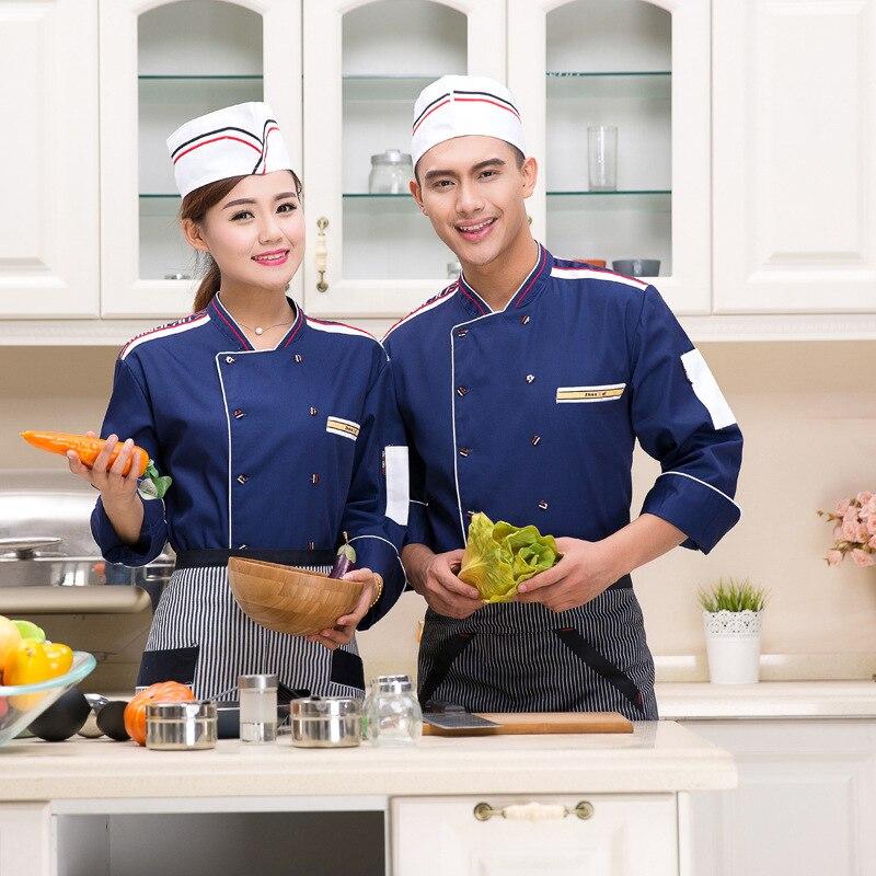 Nueva llegada Chef uniforme Unisex Hotel restaurante cocina Chef chaqueta manga larga panadería torta ropa de camarero uniforme B-5603