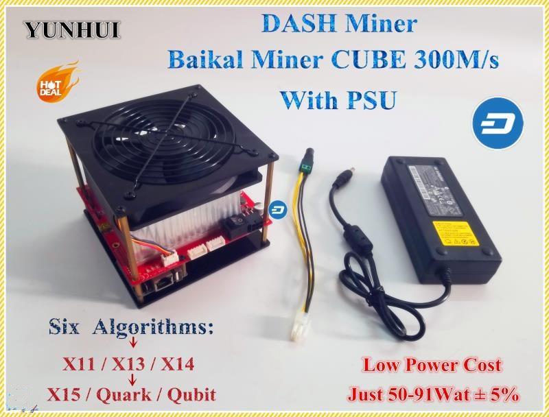X11 DASH Mineur Baïkal CUBE 300 m/s Avec Alimentation Soutien Algorithme X11/X13/X14/X15/ quar/qubit Mieux Que Antminer D3
