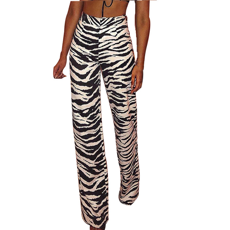 Zebra Striped Zipper Fly Long Pants Women High Waist Slim Fit Straight Trousers Female Fall Winter 2018 Casual Pants Capris