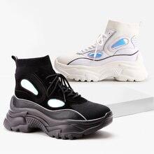ADBOOV новые высокие кроссовки на платформе женские блестящие ботильоны носок обувь женская унисекс папа массивные кроссовки Zapatos De MuJjer