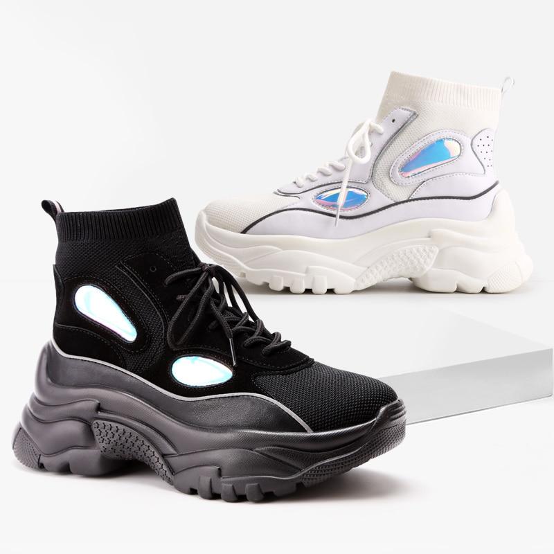 ADBOOV New High Top zapatillas De plataforma mujer purpurina botines calcetín Zapatos mujer Unisex papá grueso zapatillas De mujer
