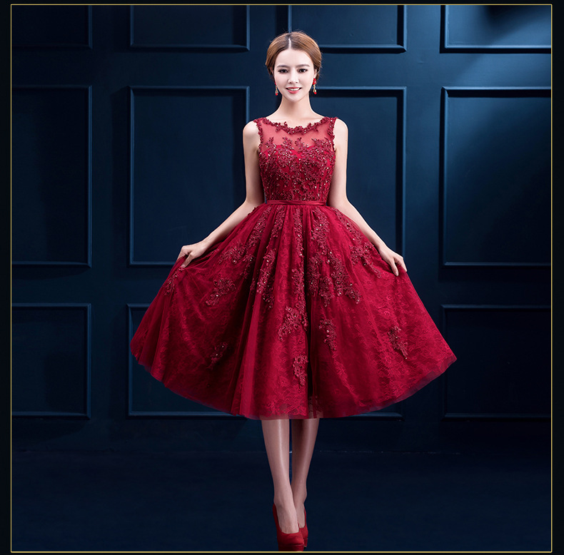 3299465778 2019 línea de vino rojo corto de encaje de tul de dama de honor vestidos de noche  vestido de Prom vestidos de baile vestido de vestidos de fiesta traje de ...
