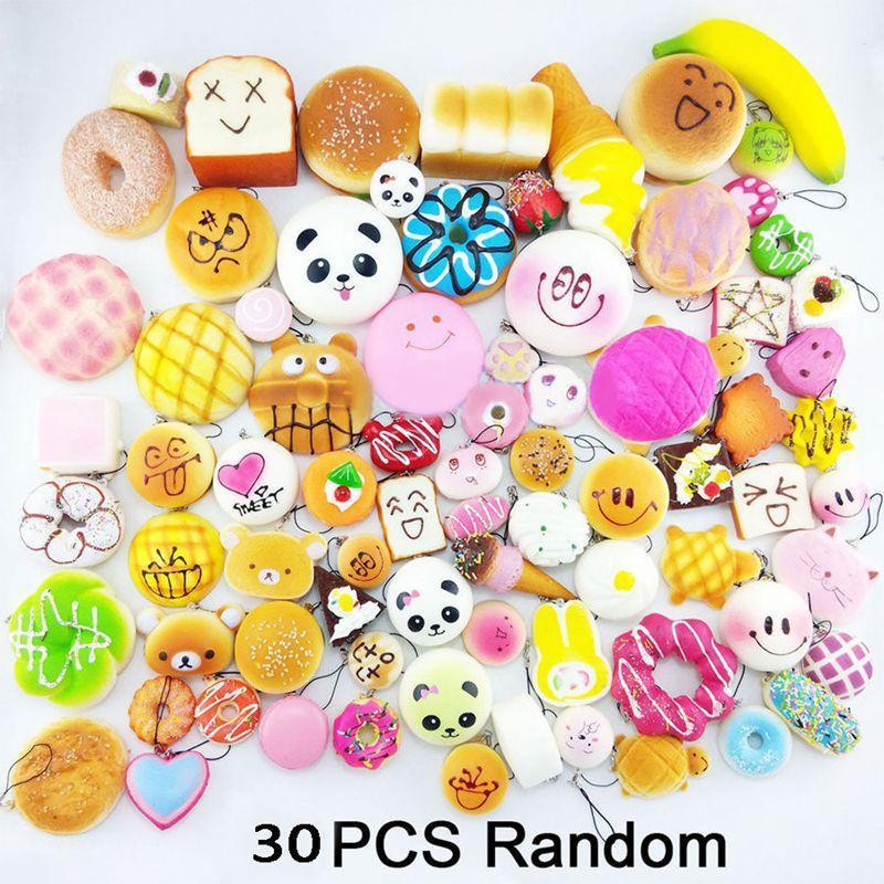 30Pcs Cute Mini Soft Random Squishy Furniture Home Decor Strap Simulation Medium Panda Cake Macaron Dessert Buns DIY Strap Gift super bass portable stereo bluetooth speaker hifi wireless subwoofer speakers tf card aux led display clock alarm with fm radio