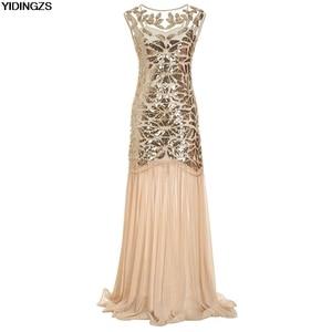 Image 3 - YIDINGZS Womens Vintage Evening Dress Gold Sequins Beading Long Evening Party Dress GA11