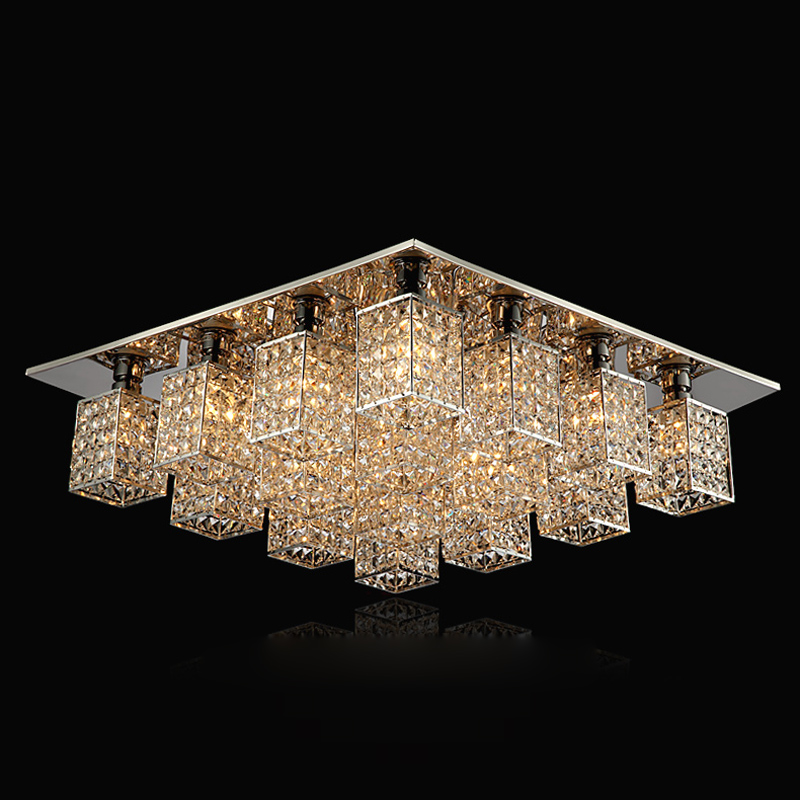 Modern Square Crystal Cube Bedroom Ceiling Lamp Luxury Living Room Ceiling Lights Dining Room Bar Counter Balcony Ceiling Light