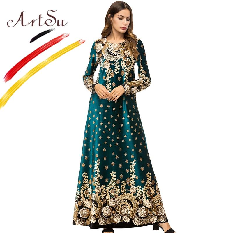 ArtSu De Luxe Or Imprimé Floral Femmes Robe Vintage 4XL Plus Taille D'hiver A-ligne Robes Ethniques Vert Velours Maxi Robe Robe femme