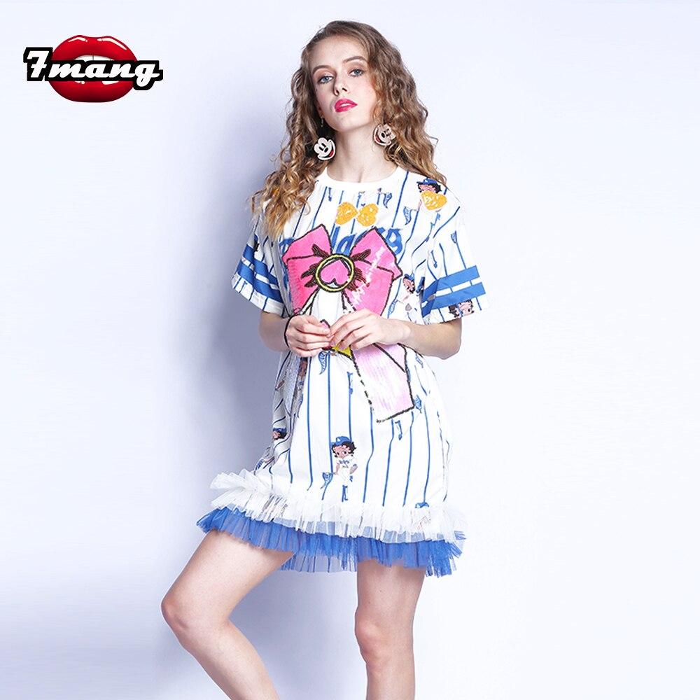 7mang 2017 summer women cute harajuku blue white sequins mesh mini dress short sleeve loose bow cartoon printing striped dress