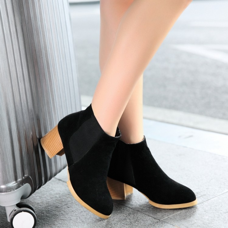women boots 2017 autumn and winter high heels round toe shoes woman soft leather England styel martin boots plus size 34-43 Y88 2017 autumn and winter new plus velvet thick women s boots soft bottom comfortable breathable mother shoes wild leather