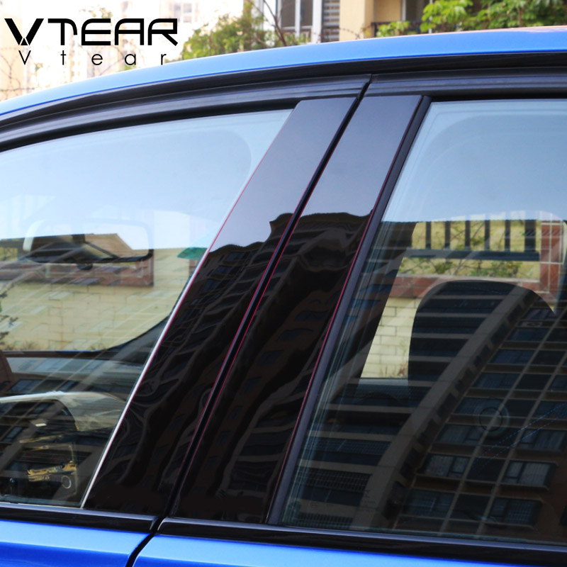 Vtear For Hyundai creta ix25 car window BC column decorative sticker trim mirror reflection panel Exterior accessories 2016-2019