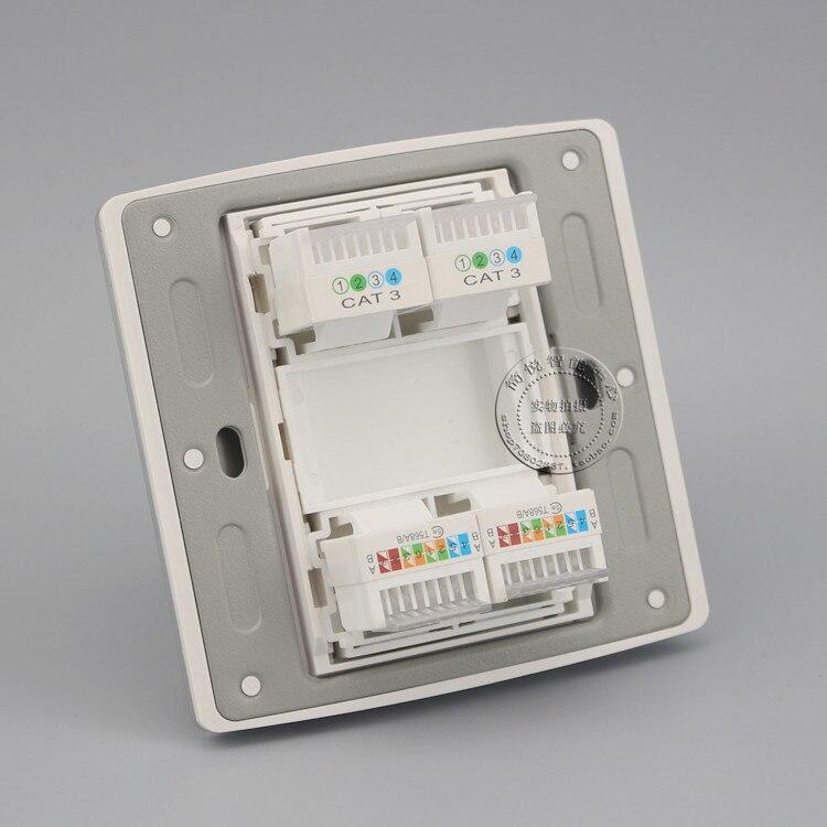 3 Port RJ45 Cat5e Network Ethernet LAN Socket Champagne Outlet Panel Faceplate
