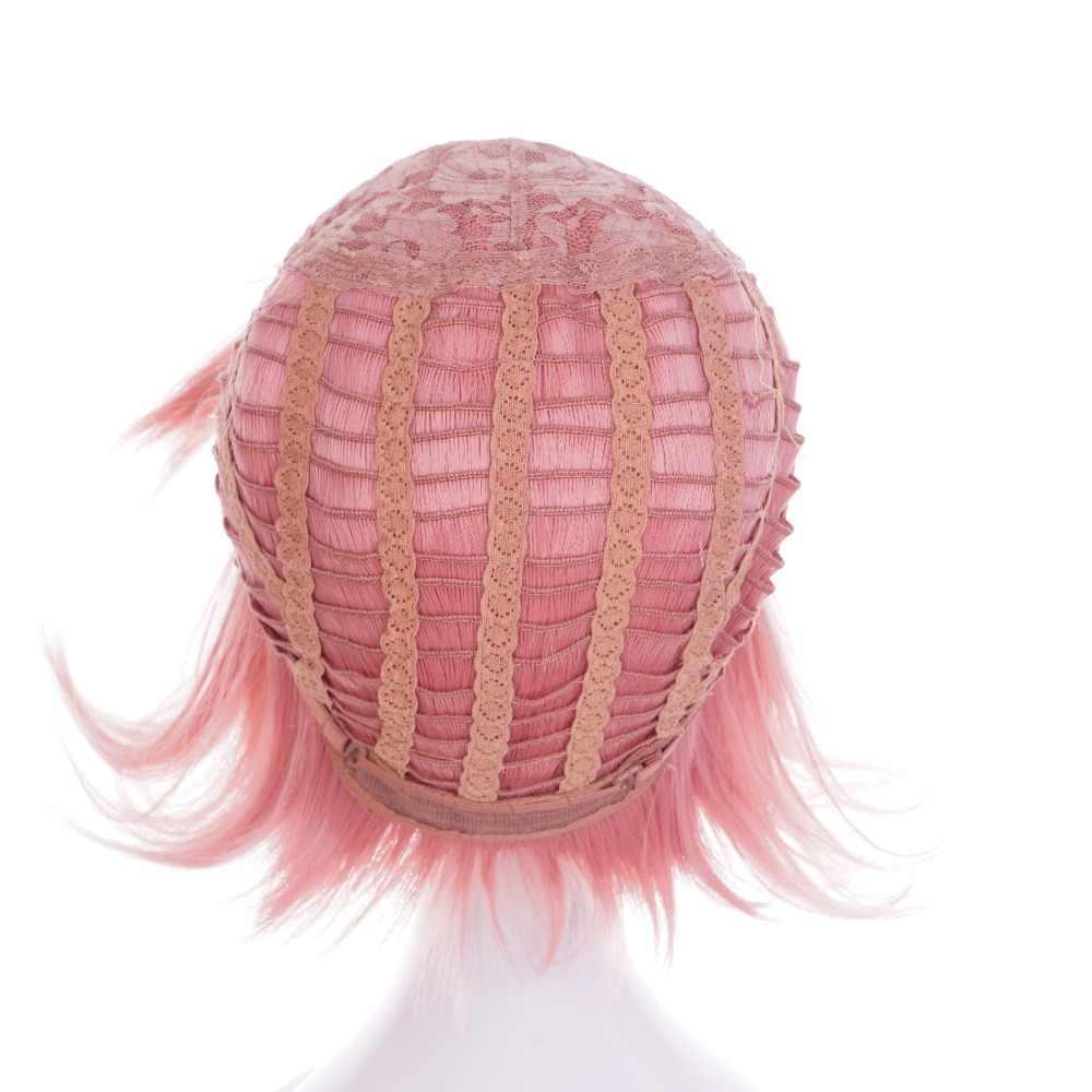 Ccutoo ину х Boku SS Roromiya Karuta жаропрочных Косплэй парик чип Хвостики Розовый Короткие вьющиеся Синтетические волосы