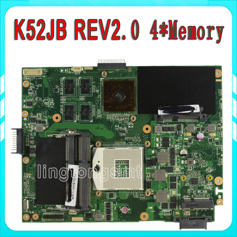 For ASUS K52JB K52JR REV 2.0 PGA989 512M HD5145 HM55 216-0728014 DDR3 VRAM Laptop motherboard tested perfect