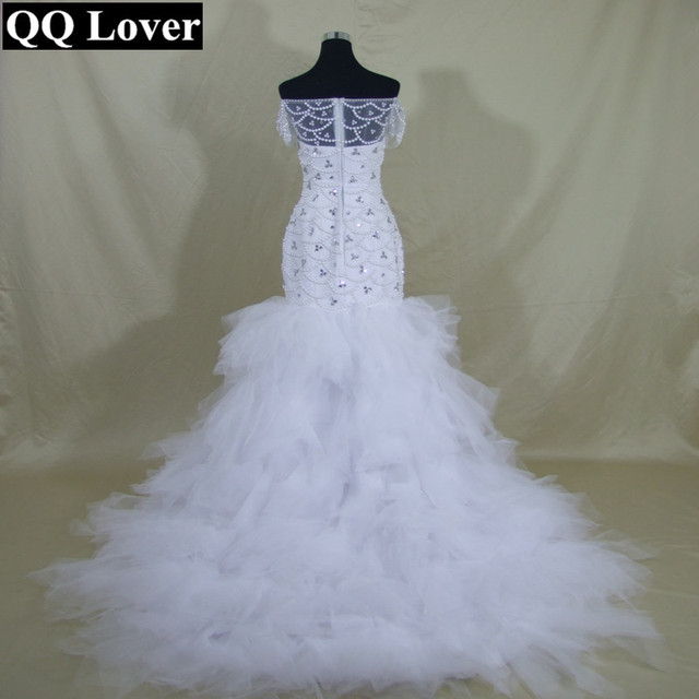 66e33fd4d6 QQ Lover 2019 New African Pearls Beaded Tiered Mermaid Wedding Dress Custom-made  Plus Size Vestido De Noiva