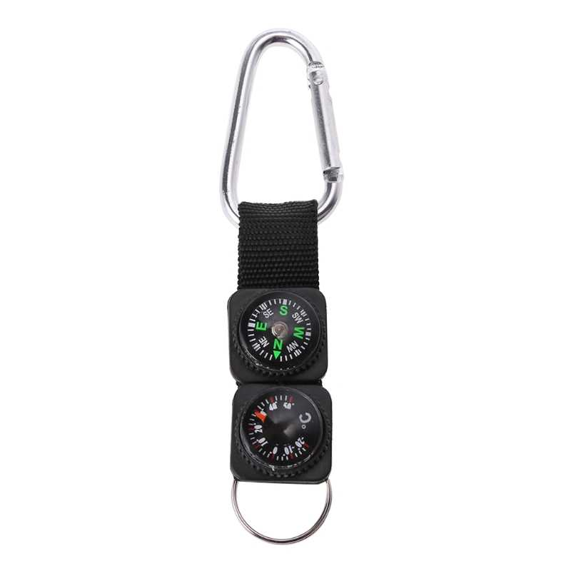 高品質ミニ多機能屋外スポーツキーホルダーカラビナ旅行ハイキングコンパス温度計サバイバルツール