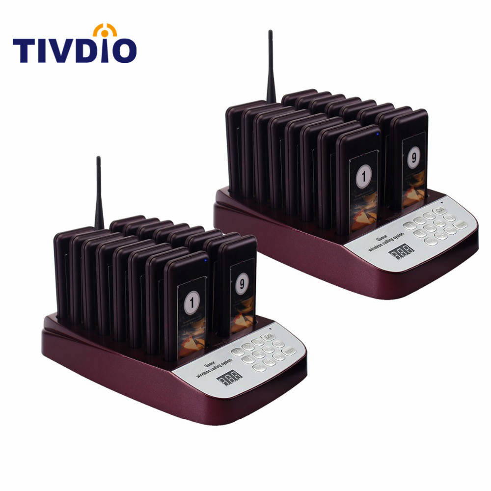 TIVDIO 32 Wireless Restaurant Pager Coaster Paging Queuing System Rechargeable Battery 433.92MHz Restaurants Equipments F9403D wireless service call bell system popular in restaurant ce passed 433 92mhz full equipment watch pager 1 watch 7 call button