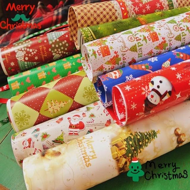 5 шт./лот Рождество упаковка Бумага 70x50 см Стиль случайный