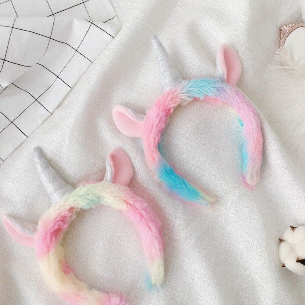 Doux arc-en-ciel licorne cheveux cerceau en peluche jouet Adorable peluche licorne cheveux bande peluche Animal licorne bandeau en peluche jouets