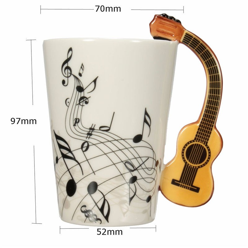 Novelty Guitar Ceramic Cup Music  Mug Ceramic Tea Cup Coffee Musical Items Drinkware Guitar Mugs Great Gift4