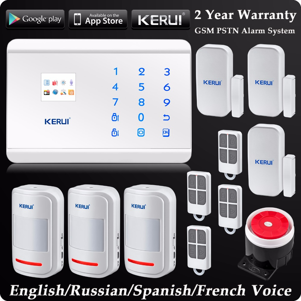 8218G White GSM PSTN Dual Net Home Security Alarm System LCD Touch Panel ISO Android App Control Security Alarm System