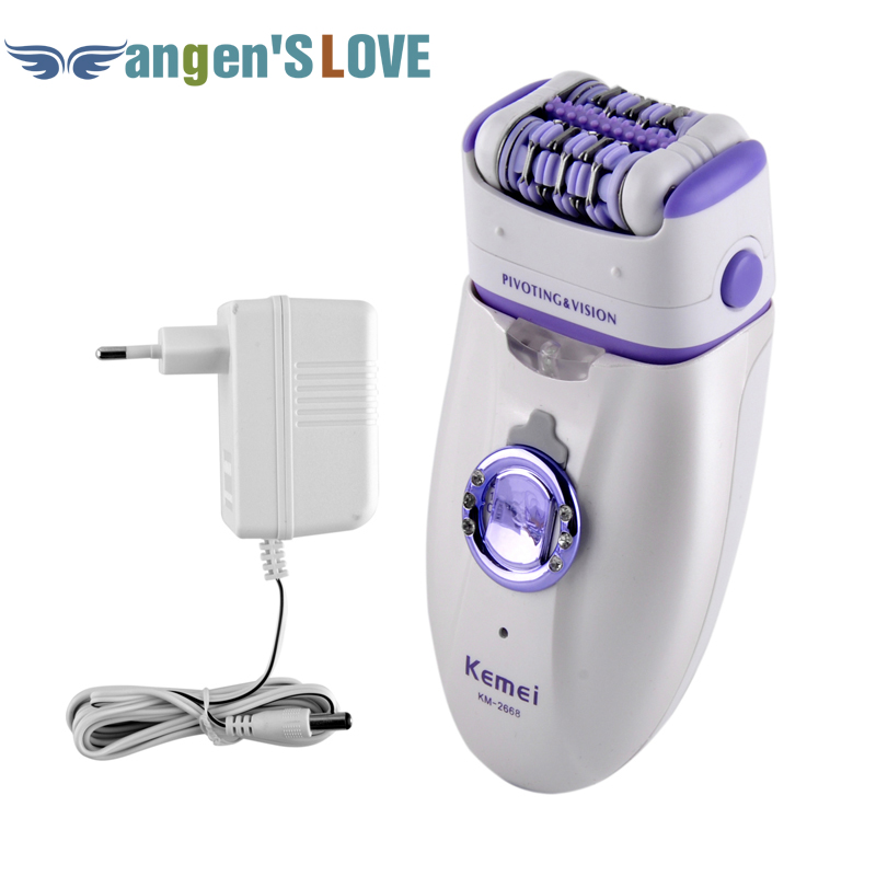 New 2 in 1 Women Shave Wool Device Knife Electric Rechargeable Lady Shaver Epilator Shaving KM 2668 Waterproof Dual Head Hair