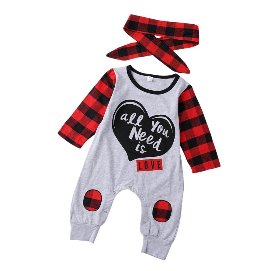 Fashion Baby Boy Girl Clothes Newborn Toddler Long-sleeved Letter print Plaid jumpsuit+1PC Headbands Infant Clothing set Outfits minnie newborn baby girl clothes gold ruffle infant bodysuit bloomer headband set winter jumpsuit toddler birthday outfits