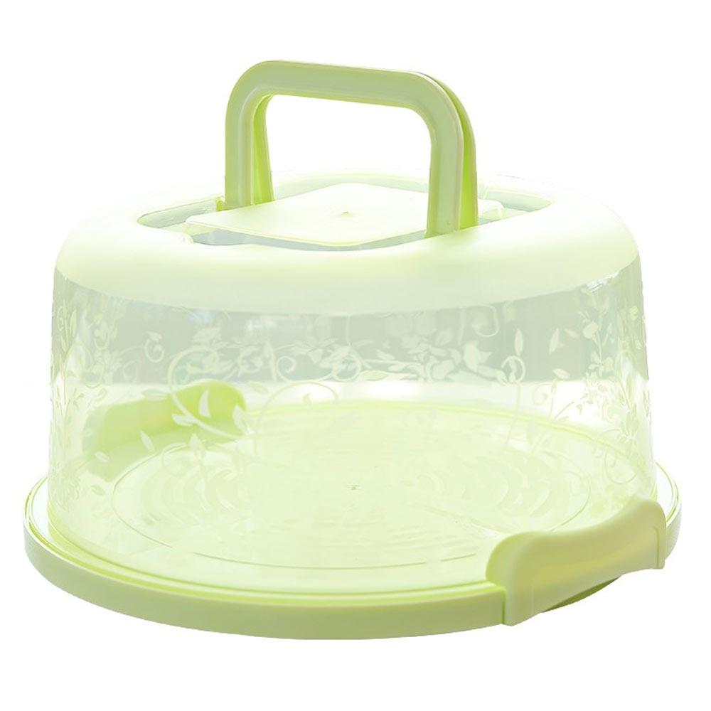 Коробка для торта пластиковая круглая ручной кухонный инструмент для украшения свадебного торта День рождения без деформации коробка для хранения торта Контейнер для кексов - Цвет: green