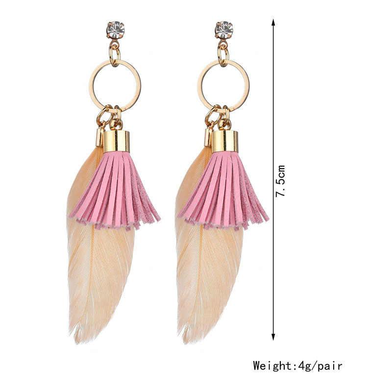 Thời trang thanh lịch cô gái màu hồng rope tassel sexy dài Lông mặt dây chuyền shining pha lê stud charm Stud dài Bông Tai Phụ Nữ