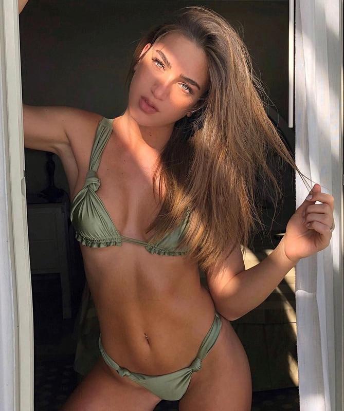 Hot gray bikinis sexy swimwear women bandage swiming suit bathing suit brazilian bikini set maillot de bain biquinis
