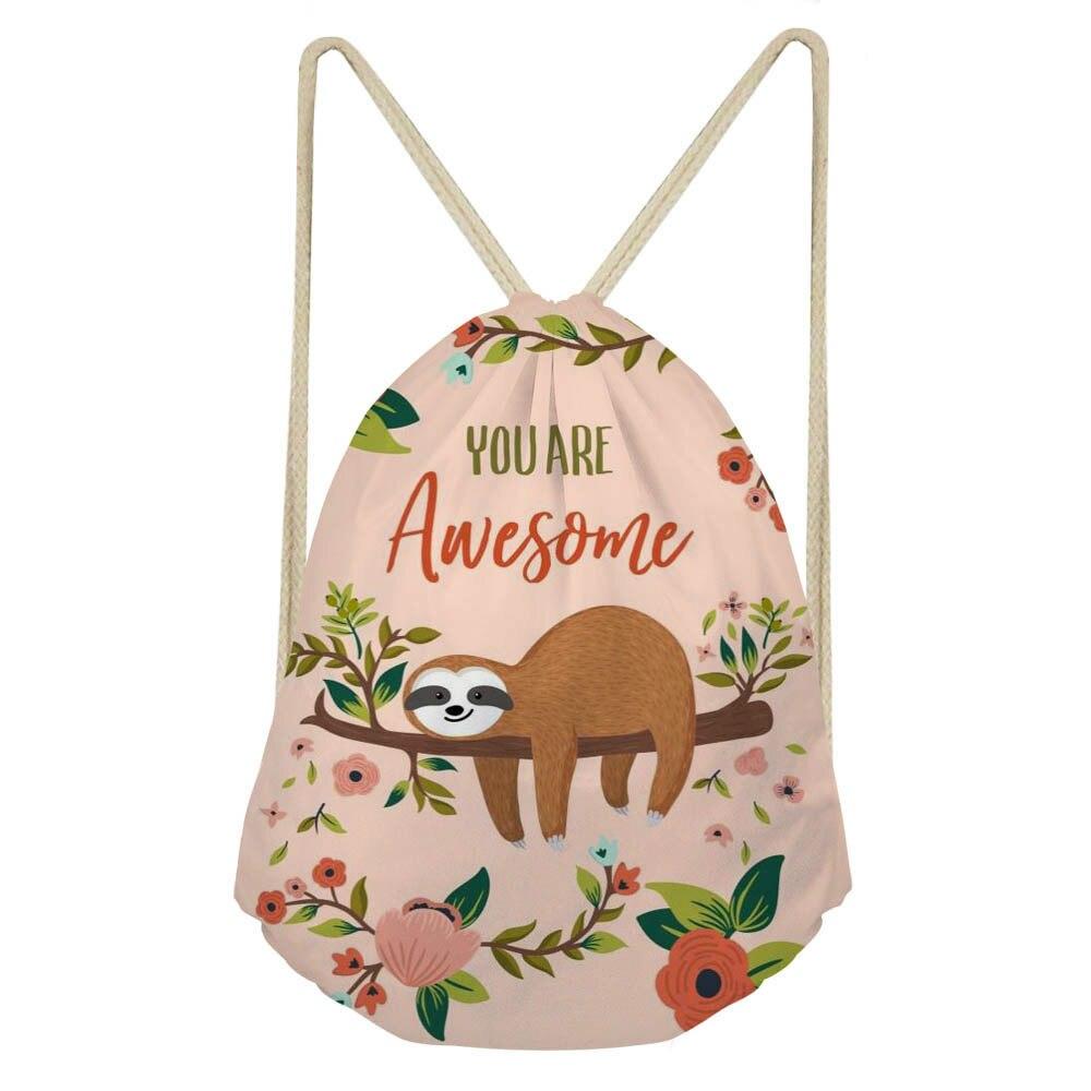 ThiKin Drawstring Bag Cute Animal Lazy Sloth Print Women's Mochila Storage Bags Cartoon School Bag Girls Shoulder Bags