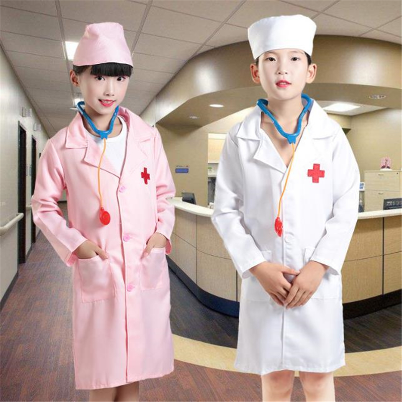 Child Nurse And Doctor Cosplay Costume Halloween Kids Party White Clothes Free Stethoscope Gifts For Children